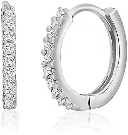 18K White Gold Over Sterling Silver Slim Cubic Zirconia Rear Open Circle Design Huggie Earring