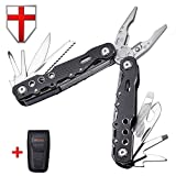 Multitool with Knife and Universal Pliers - Utility Mini Tool with Unique Aluminum Black Handle - USA and Swiss Army Military Big Basic Multitool - Bike Set Titanium Multi-tool - Grand Way 104052