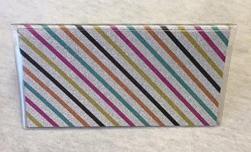 Amazon Vinyl Checkbook Cover Glitter Stripe Multi Color On