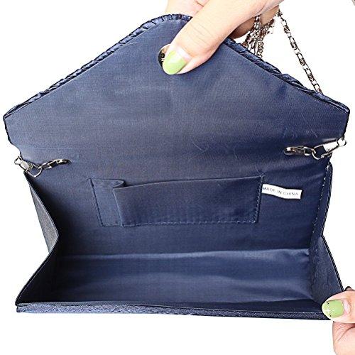 Envelope Handbags Purse Bridal Crossbody Satin Evening Party Dark Clutch Ladies Prom Blue Bag Asien Handbags Wedding pOwnSqTExW