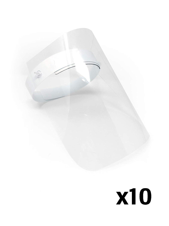 Pantalla Protección Facial Transparente Pack de 10 unidades - Pantalla Protectora Cara, Protector Facial, Visera Protectora - Visera Ajustable, Reutilizable, Ligera, Antivaho y Elevable