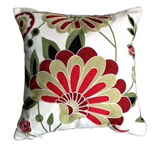 Cotton Canvas Crewel Embroidery Cushion Cover Luxury Home Decorate Wedding Bedding Sofa Chair Outdoor Pillow Case