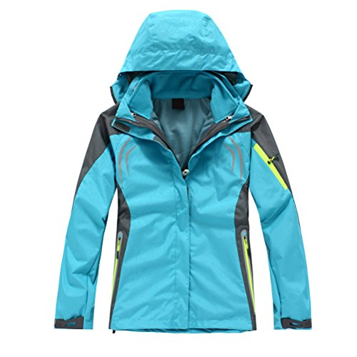 Zhhlaixing Fashion mujeres Outdoor Sports Hiking Climbing Warm Jacket Waterproof Coat Outwear Sky Blue