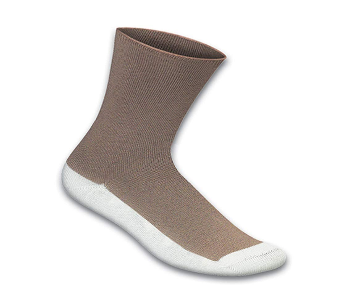 Orthofeet Casual Dress Non-Binding Non-Constrictive Circulation Seam Free Bamboo Socks Brown, 3 Pack Large by Orthofeet
