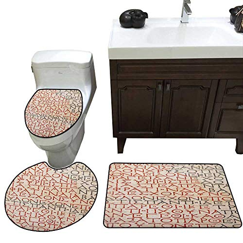 - Toga Party 3 Piece Toilet mat Set Antique Latin Culture Alphabet Writing Carved on The Tombstone Print Bathroom and Toilet mat Set Peach Dark Coral Taupe