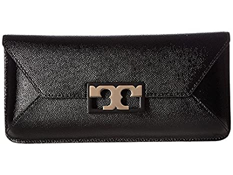 af89487f40a Image Unavailable. Image not available for. Color  Tory Burch Gigi Caviar  Leather Gold Tone Metal Detailed Clutch Handbag in Black