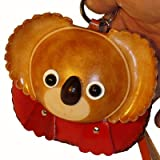Handmade Leather Wristlet Purse, a Brown Girl Koala Bear Face on the Cover, Zipper Closure., Bags Central