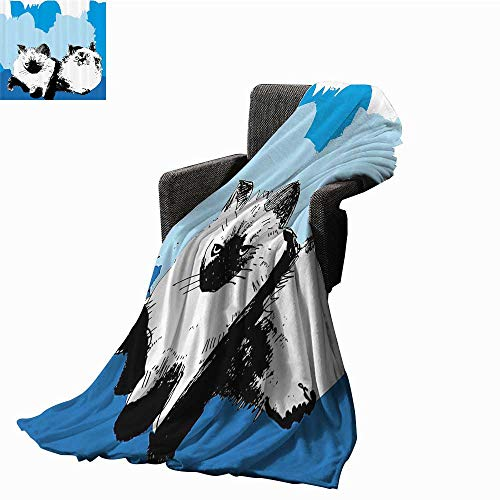 G Idle Sky Cat Faux Fur Throw Blanket Illustration of Cute Baby Cats with Shades of Blue Kitten Theme Artwork Ultra Soft and Warm Hypoallergenic 51
