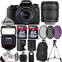 Canon EOS Rebel T6s DSLR Camera + Canon 18-135mm IS STM Lens + Canon Speedlite 430EX III RT + 64GB Storage + UV-CPL-FLD Filter Kit + Wrist Grip Strap + Wireless Remote - International Version