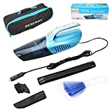 Reserwa Car Vacuum Wet Dry Car Vacuum Cleaner 12V 120W 5000PA 2 in 1 Portable Handheld Vacuum Cleaner with 14.7FT(4.5M) Power Cord and LED Light, Carry Bag, Cleaning Brush (Blue)