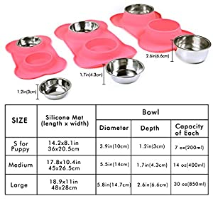 Vivaglory Dog Bowls, Set of 2, Stainless Steel Water and Food Bowl Pet Puppy Cat Feeder with Non Spill Skid Resistant Silicone Mat, Small, Pink