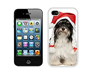 Personalized Hard Shell Christmas Dog White iPhone 4 4S Case 40