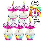 Set of 24 Unicorn Cupcake Toppers & Cupcake Wrappers for Kids Unicorn Party – Includes FREE Pin the Horn on the Unicorn Game - Perfect for a Baby Shower, Birthday Party, Gender Reveal Party & More