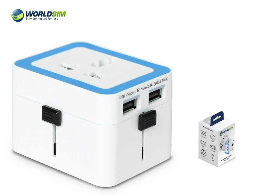 World Travel Adapter The best International (Worldwide) Plug (US UK ASIA EU AU) with Dual USB Charging Ports