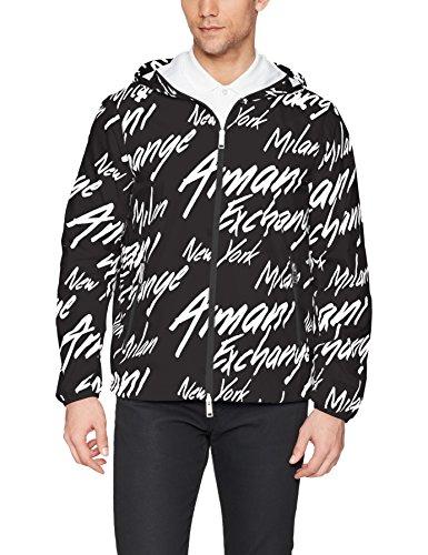 A|X Armani Exchange Men's Logo Printed Armani Activewear Jacket, Black W/Italic, M