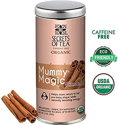 Secrets of Tea - Mummy Magic Weight Loss Cinnamon - Certified USDA Organic Herbal Tea for Metabolism Boosting, Improved Digestion and Detoxification w/Increased Energy Levels - 40 Servings