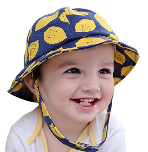 Baby Boys Girls Bucket Hat Cap With Adjustable Neck Flap Toddler Floppy Lemon Hat (navy - Snapback Deals Cyber Monday