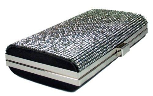 Evening Sparkle Wedding Black Girly Hard Case Glitter Clutch Bag Diamante HandBags TaazqInZ