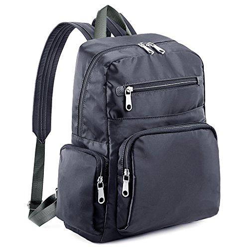 UTO Laptop Backpack Lightweight Nylon Unisex Rucksack School College Bookbag Travel Bag Shoulder Purse Grey Gris