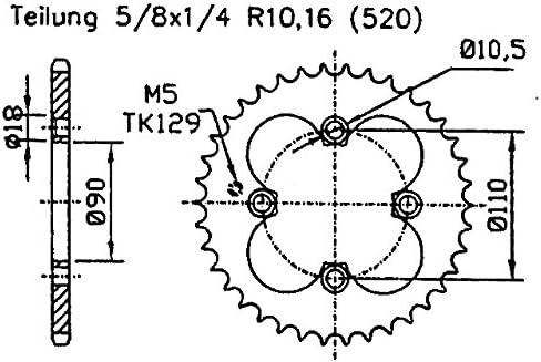 Tuning Kettenrad 32 Z/ähne Ersatzteil f/ür//kompatibel mit Triton Reactor 450