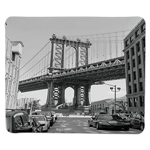 (SCOCICI Mouse Pad with Locking Edge,Brooklyn New York USA Landmark Bridge Street with Cars Photo,Non-Slip Rubber Base Mousepad,for Laptop,Computer,PC,Keyboard (11.8