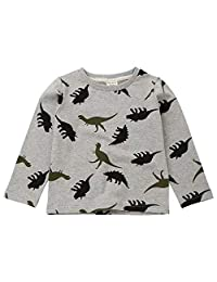 Children Kid Boys Girls Catoon Dinosaur Print T-Shirt Tops Shirts Tee Casual Clothes