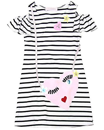 - Biscotti Girls' Face Time Striped Dress, Sizes 2-12 - 7 Black/White