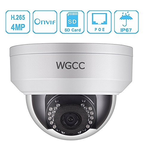 IP Poe Dome Camera, Unitech 4MP WDR Vandal-resistant Network Security Camera Outdoor with Micro SD Slot Audio Interface Support H.265 High Efficient Video Compression IP67 Waterproof 3.6mm Lens