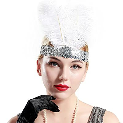 BABEYOND Roaring 20's Sequined Showgirl Flapper Headband Black with Feather Plume