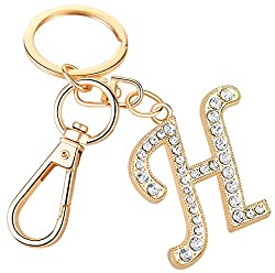 "Crystal Alphabet Initial Letter Pendant ""H"" with Key Ring"