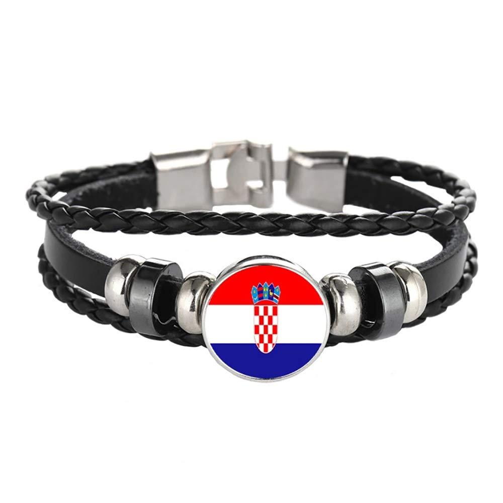 Braccialetto Fatto a Mano alla Moda per Uomo e Donna Souvenir del Braccialetto Intrecciato con Catena in Pelle con Bandiera della Croazia
