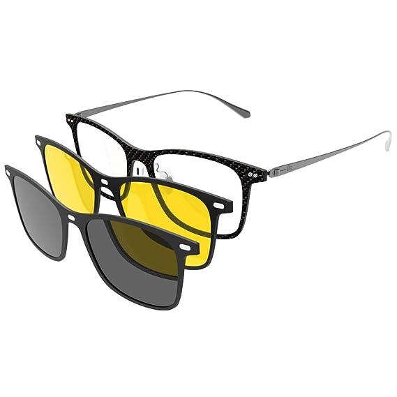 8fea8e7a22a Clip-On Sunglasses Polarized Prescription Eyeglasses Frame with Magnetic Sunglasses  Clip and Night Vision Clip