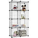 Finnhomy 8 Storage Cubes Multi Use DIY Wire Grid Organizer Closet Organizer Shelf Cabinet Wire Grids Panels Garage Storage Rack Sets Shelving Units for Books/Plants/Toys/Shoes/Clothes Black