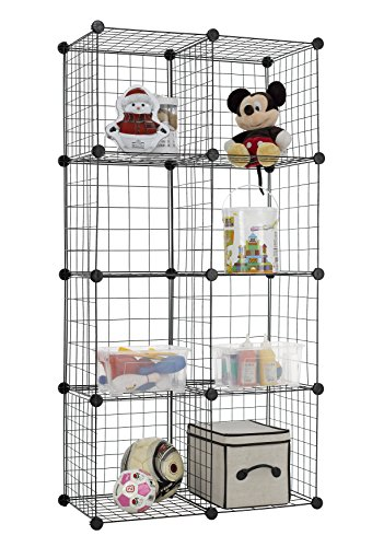 Finnhomy 8 Storage Cubes Multi Use DIY Wire Grid Organizer Closet Organizer Shelf Cabinet Wire Grids Panels Garage Storage Rack Sets Shelving Units for Books/Plants/Toys/Shoes/Clothes Black - Cabinet Wire