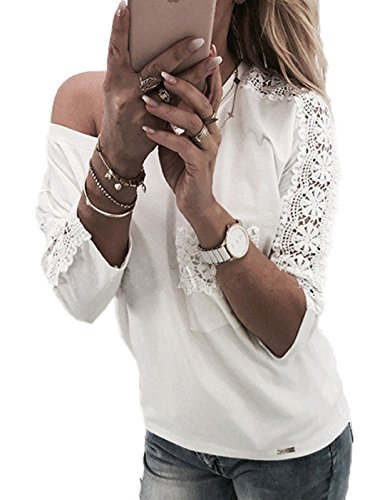 Manches Blanc Chemisiers avec Casual Haut Shirts Shirt Femme Dentelle Col Slim 4 New Blouses CWCentury Unie Epissure Couleur Rond 3 Poche T x1P8Rnq