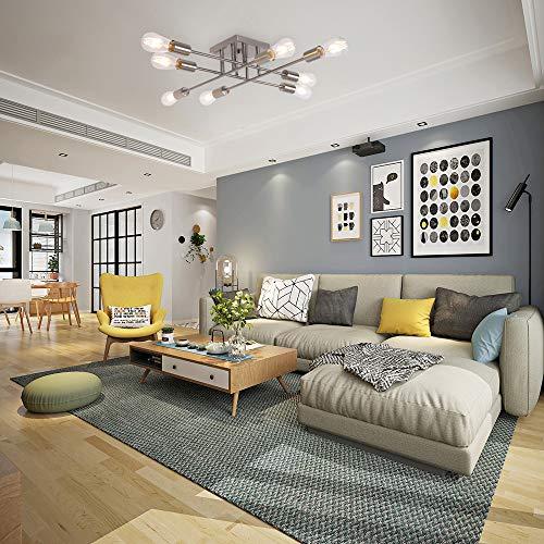 Kitchen Living Room Pass Through See Description: 8 Light VINLUZ Industrial Semi Flush Mount Ceiling Light