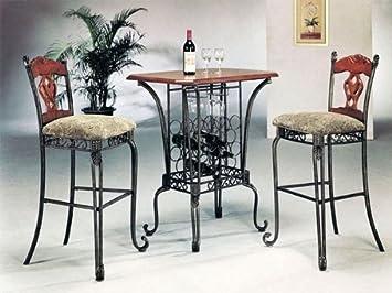 Amazoncom 3 PIECE BAR TABLE SET WITH WINE RACK BASEBar Table