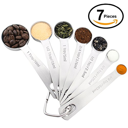 1Easylife 7-Piece 18/8 Stainless Steel Measuring Spoons Set, Including 3/4, 1/2 and 1/8 tsp for Measuring Dry and Liquid Ingredients