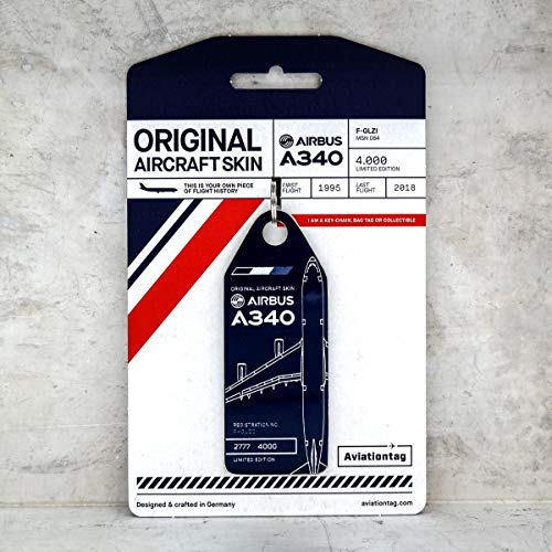 AVT009 AviationTag Airbus A340 (Air France) Blue Original Aircraft Skin Keychain/Luggage Tag/Etc with Lost & Found Feature