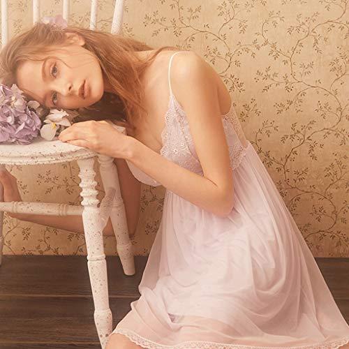 Blanco V De Perspectiva color Palace Con Camisón En Cuello Tamaño Princesa Vestido Lace Sense Correa Zcx Xs Blanco Back Pijamas Mujer Design 41vFqWw