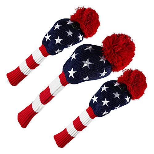 (PINMEI Golf Headcover Knitted Golf Club Head Covers Set of 3,fit for Driver,Fairway Wood, Hybrid Head Cover Headcover for Callaway Mizuno Cobra Taylormade (US Star))