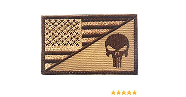2 x 3 Backwoods Barnaby Punisher USA American Flag Tactical Morale Patch with Hook /& Loop