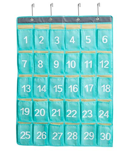 Numbered Classroom Pocket Chart for Cell Phone and Calculator,30 Pockets Wall or Door Hanger Storage Organizer (Blue)