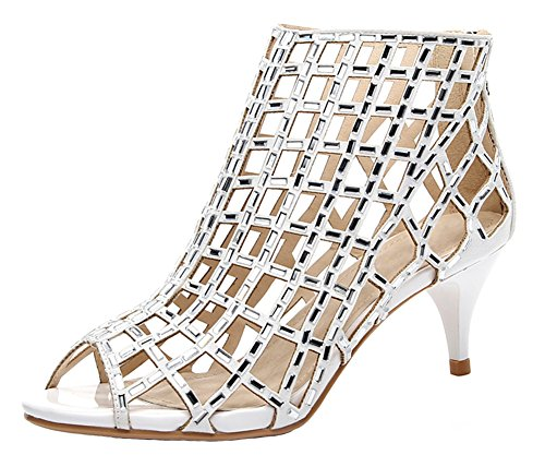 jiandick Womens Rhinestone Ankle Bootie Prom Heeled Sandals Evening Dress Stiletto High Heel (10, white-2inch)