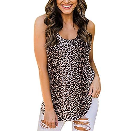 Ximandi Fashion Womens Sleeveless Vest Leopard O-Neck Print Tank Top Blouse ()