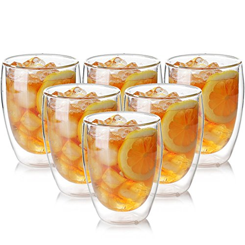 Double Wall Cocktail (Zen Room Ultra Clear Strong Double Wall Glass, Insulated Thermo & Heat Resistant Design, Dishwasher and Microwave Safe, Made of Real Borosilicate Glass (12oz Set of 6))