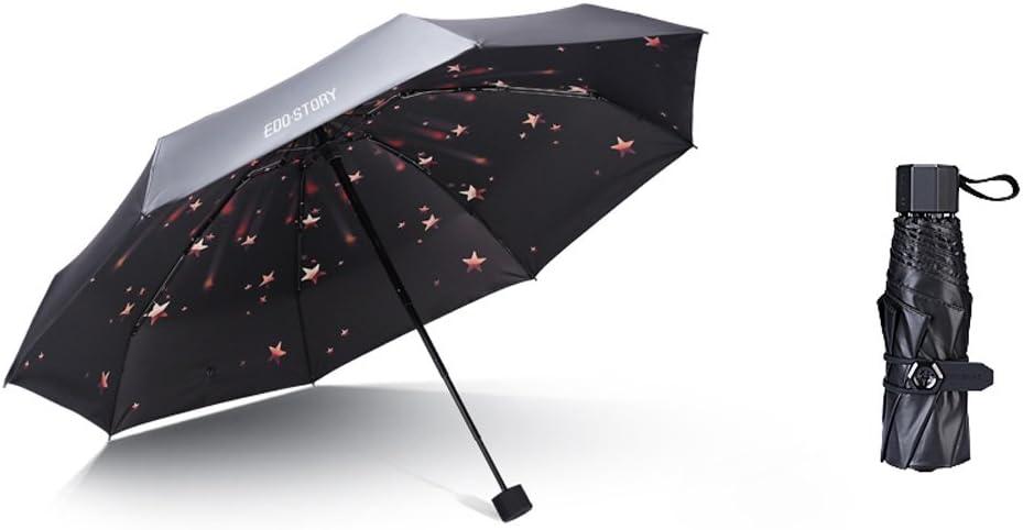 Size : 95cm56cm Fashion Home ZHILIAN Umbrella Parasol Mini UV Protection Five-fold Umbrella Three Fold Retro Ultralight Sun Umbrella Rainy Day Dual-use Umbrellas