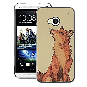 A-type Arte & diseño plástico duro Fundas Cover Cubre Hard Case Cover para HTC One M7 (Red Fox Clever Vignette Yellow Cute)