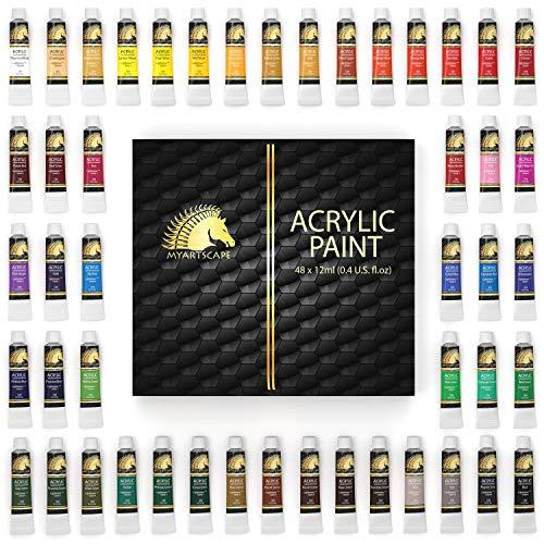 Acrylic Paint Set – 48 x 12ml Tubes – Lightfast – Heavy Body – Non Fading – Vibrant Colors – Artist Quality Painting…