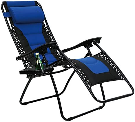PHI VILLA Padded Zero Gravity Lounge Chair Patio Foldable Adjustable Reclining